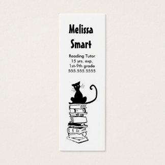 本の細い名刺の先生の個人教師の猫 スキニー名刺