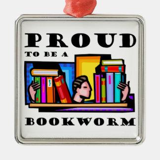 本の虫があること誇りを持った。 本間の愛書家 シルバーカラー正方形オーナメント