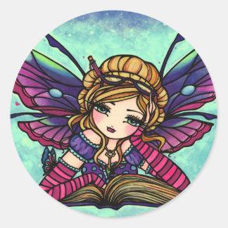 本の虫の妖精の図書館のファンタジーの芸術のステッカー ラウンドシール