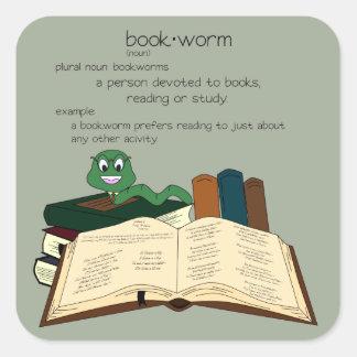 本の虫-色を変えて下さい スクエアシール