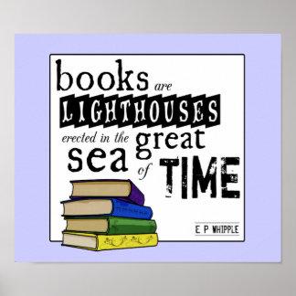 本は時間の素晴らしい海の灯台です ポスター
