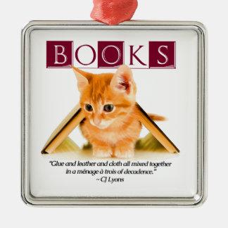 本は…あります シルバーカラー正方形オーナメント