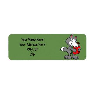 本を握っている漫画のオオカミ ラベル