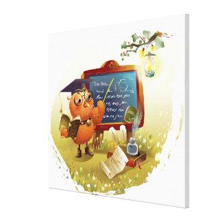 本を握り、黒板で教えている鳥 キャンバスプリント