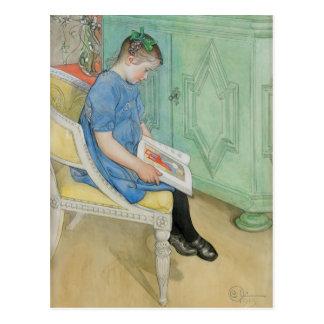 本を読んでいるアナジョハナ ポストカード