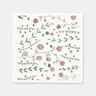 本及び花のカクテルのナプキン スタンダードカクテルナプキン