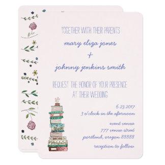 本及び花の結婚式招待状 カード