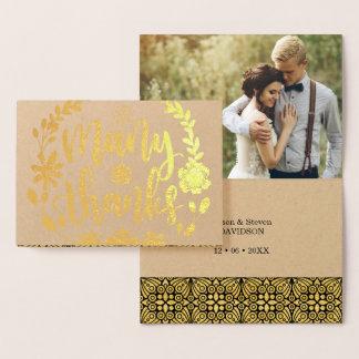 本当にありがとうの金ゴールドホイルは文字の結婚式の写真の台本を書きました 箔カード