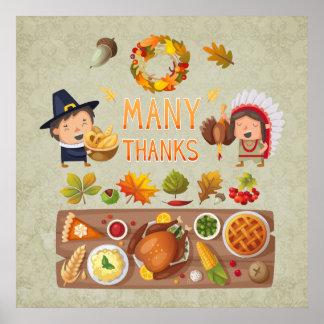 本当にありがとう巡礼者および先住民の感謝祭の饗宴 ポスター