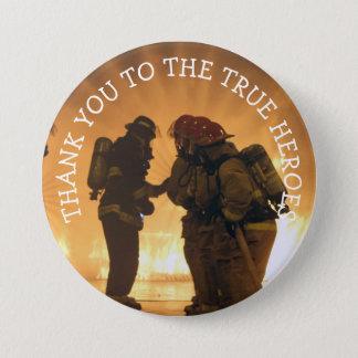 本当の英雄に、消防士ボタンありがとう 缶バッジ