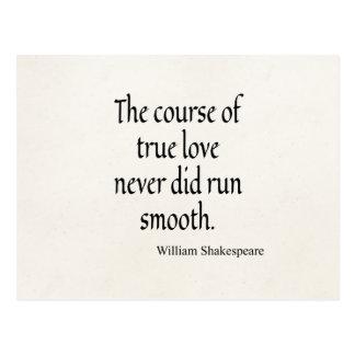 本当愛のシェークスピアの引用文のコースは滑らか走ります ポストカード