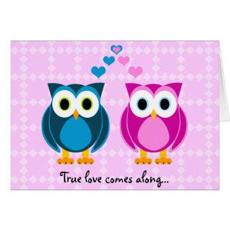 本当愛は現れります… フクロウの漫画カード カード