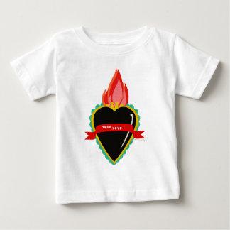 本当愛リボンのサッシュのティーとの神聖なハート ベビーTシャツ