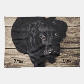 本当愛黒のラブラドル・レトリーバー犬の台所タオル キッチンタオル