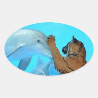 本当愛: 友情: イルカおよびトラの大会 楕円形シール