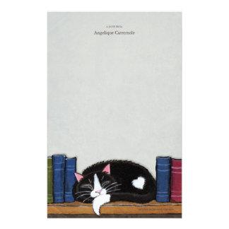 本棚のノート紙の本愛|猫 便箋