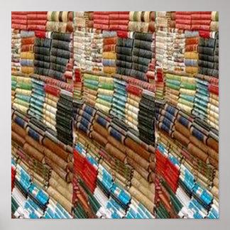本棚の図書館の読者の数学科学の自然のおもしろい ポスター