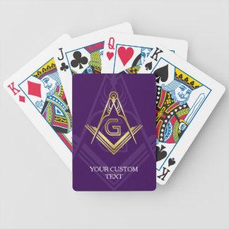 本部のフリーメーソンのポーカーカード紫色|および金ゴールド バイスクルトランプ