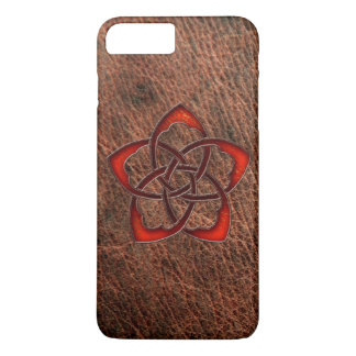 本革のオレンジケルト結び目模様の花 iPhone 8 PLUS/7 PLUSケース