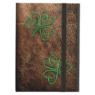 本革の幸運なシャムロックの緑 iPad AIRケース