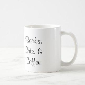 本、猫およびコーヒー・マグ-オリジナルのアートワーク コーヒーマグカップ