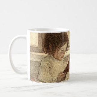 本、Jessie Willcoxスミスを読んでいるヴィンテージの子供 コーヒーマグカップ
