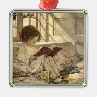 本、Jessie Willcoxスミスを読んでいるヴィンテージの子供 シルバーカラー正方形オーナメント