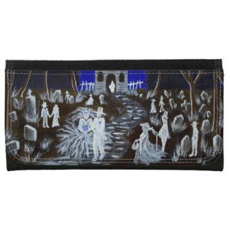 札入れ、結婚式、幽霊、教会、墓地、ハロウィン レザーウォレット