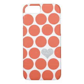 朱色のオレンジ水玉模様の銀のグリッターのハート iPhone 8/7ケース