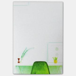 机からの緑の水彩画の芸術家の椅子の ポストイット