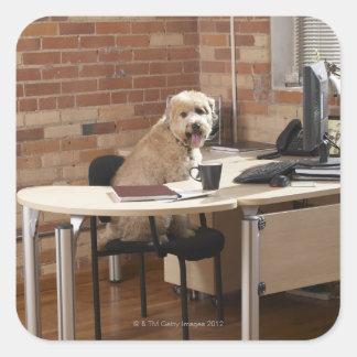 机に坐っている犬 スクエアシール