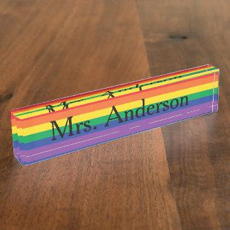 机のための虹の先生のネームプレート デスクネームプレート