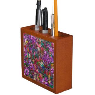 机のオルガナイザーの花柄の抽象芸術のステンドグラス ペンスタンド