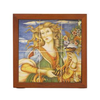 机のオルガナイザー--Derutaのタイルの女性 ペンスタンド