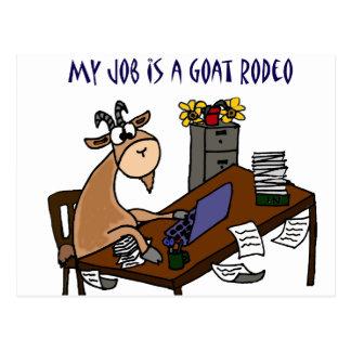 机のヤギのロデオの仕事のユーモアのおもしろいなヤギ ポストカード