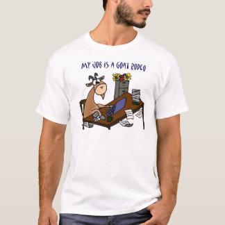 机のヤギのロデオの仕事のユーモアのおもしろいなヤギ Tシャツ
