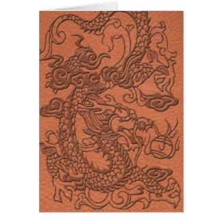 杏子のオレンジ革質のエンボスのドラゴン カード