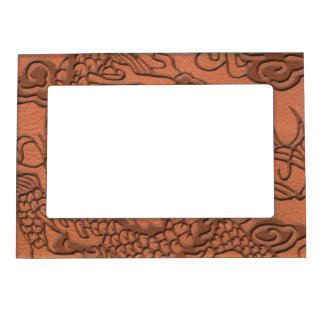 杏子のオレンジ革質のエンボスのドラゴン マグネットフレーム