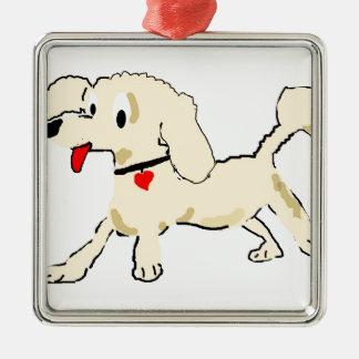 杏子のプードルの子犬 メタルオーナメント