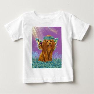 杏子の赤いプードルの子犬の妖精 ベビーTシャツ