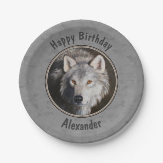 材木オオカミの顔の灰色 ペーパープレート