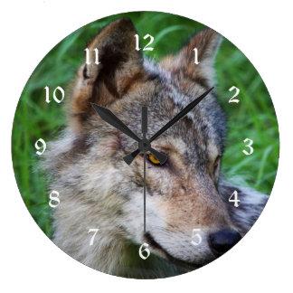 材木オオカミ ラージ壁時計