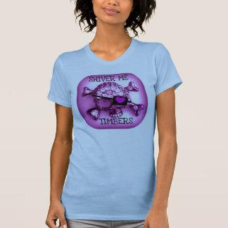 材木SKULLYの海賊ピンクのプリント私は震えます Tシャツ