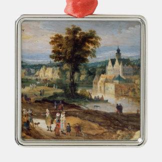 村および城のベグの景色の姿 メタルオーナメント