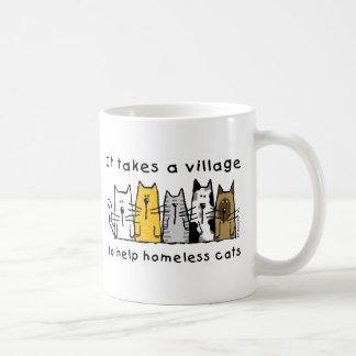 村の助けのホームレスに猫を取ります コーヒーマグカップ