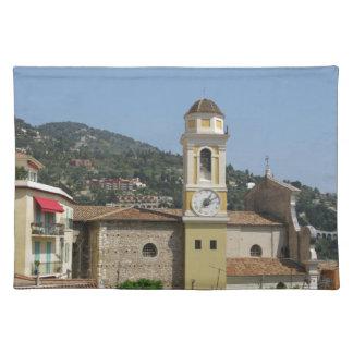 村の時計Tower~Ville Franche Sur Mer、フランス ランチョンマット