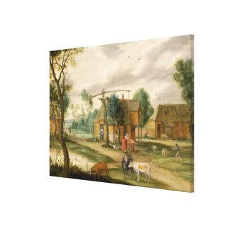 村の景色 キャンバスプリント
