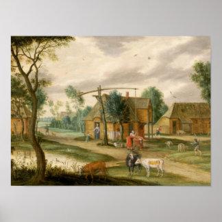 村の景色 ポスター