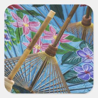 村の装飾的な手塗りの傘 スクエアシール