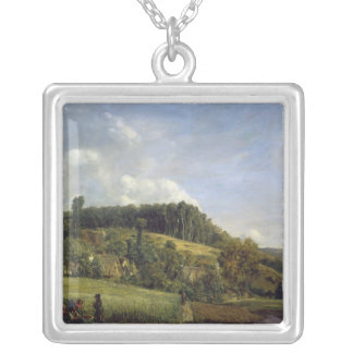 村の近くの森林林間の空地、1833年 シルバープレートネックレス